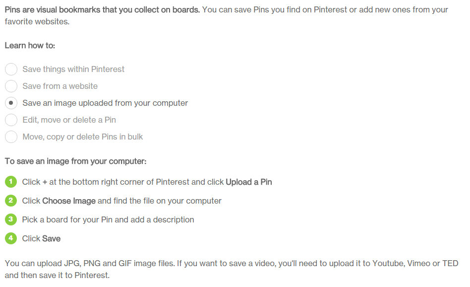 Pinterest's instructions on how to post your art online to their site